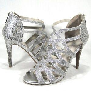 Aldo Silver Sparkly Leather Rear-Zip Heels Sz: 9M